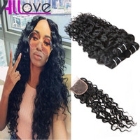 Wholesale human hair weave loose deep resale online - Cheap Brazilian Human Hair Bundles With Lace Closure Water Wave Peruvian Hair Deep Wave Loose Wave Virgin Hair Extensions Deep Curly