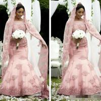 Wholesale long laced vintage veils resale online - 2019 Colorful African Muslim Mermaid Plus Size Wedding Dresses Bridal Gown Sheer Jewel Neck Long Sleeve With Free Veils