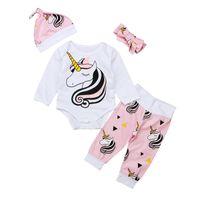 Wholesale baby cartoon romper suit - Baby unicorn outfits children print hat+Bow headband+romper+pants 4pcs set cartoon girls suits 2018 Boutique kids Clothing sets C4435