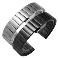 relógios de pulseira de metal preto venda por atacado-Pulseira de Relógio de Aço inoxidável sólido 16mm 18mm 20mm 22mm Prateado Preto Escovado Pulseiras de Metal Strap Relogio masculino