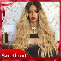 Wholesale golden blonde lace front wigs resale online - Fast Shipping Density Ombre Golden Blonde Wig with Baby Hair High Temperature Glueless Wavy Synthetic Lace Front Wigs For Black Women