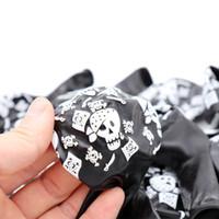 balon ballon toptan satış-200 adet siyah balon kafatası Korsan Gemisi Baskılı lateks balonlar Cadılar Bayramı korsanlar ballon mutlu doğum günü partisi dekorasyon malzemeleri