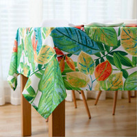 Wholesale Waterproof Cotton Tablecloth - Colorful Leaves Waterproof Tablecloth Cotton And Linen Dinner Table Cloth Art Home Decoration Graffiti Table Cover