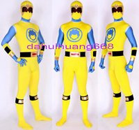 ingrosso costume giallo supereroe-Nuovo giallo / blu Lycra Spandex Superhero Suit Catsuit Costumi Unisex Fantasy Super Hero Tuta Costumi Halloween Costumi Cosplay DH164