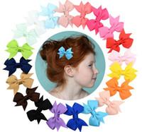 Wholesale girls hair bows 5.5 resale online - 5 cm Baby Barrettes In Stock Boutique Bow Hair Clip Grosgrain Ribbon Hair Bows For Girls Hair Accessories Barrette Colors KHM02