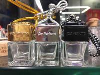 Wholesale Essential Oil Bottles Car - Fashion perfume Car-styling Essential Oil Perfume empty bottles Original Shape square Car Air Freshener Hang Rope Pendant Diffuser Bottles