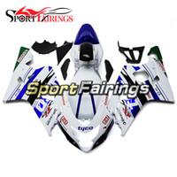 motosiklet için abs kit toptan satış-Suzuki GSXR600 GSXR750 K4 Için TYCO Beyaz Mavi Enjeksiyonlu Kaplamalar 04 05 2004 2005 ABS Plastik Motosiklet Kaporta Kiti Kaporta Vücut Seti Kapakları