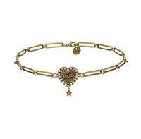 collares de oro vintage para mujer al por mayor-Rongho nuevo diseño Vintage Crystal amour Heart chokers collares para mujeres Antiguo collar de cadena colgante de oro colgante de la letra