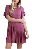 Wholesale plus size short sundresses resale online – Women Ruffle Dress Summer O Neck Short Sleeves Sundress Preppy Style Sweet Clothes Daily Boho Design Wear