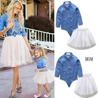 Wholesale mother daughter match denim resale online - Fashion Style Mother and Daughter Denim Jacket White Yarn Tutu Skirt Pces Sets Suits Family Matching Outfits