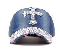 Wholesale Rhinestone Hats For Women - Summer New Fashion Designer Cross Rhinestone Hats Women Denim Sun Hats Super Quality Outdoor Sport Hat Baseball Hats Caps for Lady
