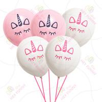 fuentes de la fiesta de cumpleaños rosa al por mayor-Unicornio Globos Happy Birthday Party Decoraciones Kids Pink White Cartoon Unicorn Balloons Unicorn Party Supplies Kids Loved 5Colors WX9-510