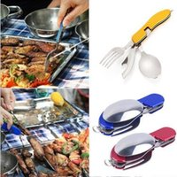 Wholesale Spoon Stainless Steel Folding - 3 in 1 Folding Stainless Steel Spoon Fork Knife Tableware Multi Tool for Camping CCA8467 60pcs