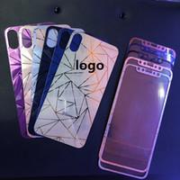 ingrosso autoadesivo del diamante della mela-3D diamante oro rosa specchio temperato vetro protezione totale dello schermo pellicola placcante adesivo per iphone x 4 s 5 se 6 6 s plus 7 8 plus