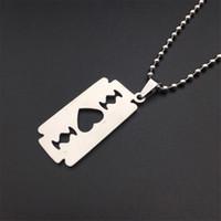 78a75710cf Cool Heart Razor Blades Pendant Necklaces Guitar Men Jewelry Steel Male  Shaver Shape Necklaces & Pendants Couple Jewelry Bead Chain