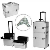 fundas de bolsas de cosméticos de aluminio al por mayor-2018 3-en-1 maquillaje de aluminio Rolling Cosmetic Train Case Wheeled Box Silve bag r