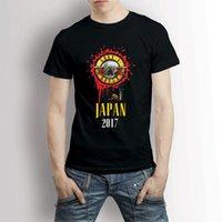 ingrosso rose giapponesi-Guns N Roses Giappone 2017 Nero T-Shirt Tee Summer Style Hip Hop Uomo T-Shirt Top T-Shirt Casual Brand Abbigliamento Cotone Estate Top