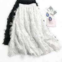 Wholesale long skirts tall - 2018 chiffon skirts tassel feather bust skirt of tall waist han edition of female long posed the a - line skirt joker