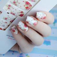 hübsche nagelaufkleber großhandel-14pcs / Blatt Blumen Nail Wraps Red Rose Nail Art volle Aufkleber GEBOREN PRETTY MDS1013 # 23251
