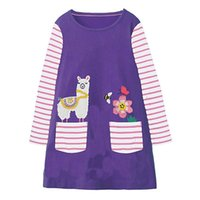Wholesale christmas designer kids dresses for sale - Christmas Kids Animal Unicorn Dress Appliques Clothing Girl INS Cute Long Sleeve Dress Cotton Designer Dress for Kids Clothing