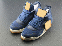 Wholesale Leather Denim Jeans Men - 2018 Free Shipping 4 Denim Jeans Travis Jean Men IV 4S Shoes Blue Sports Sneakers Trainers Basketball Shoes