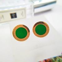 мать серьги оптовых-Высокое качество мода из нержавеющей стали роскошные розовое золото покрытием круглый изумрудно-зеленый камень серьги для женщин мать подарок Оптовая