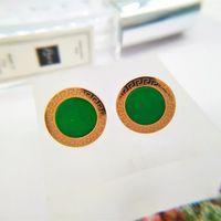 smaragdgrünstock großhandel-Hochwertige Mode Edelstahl Luxus rose gold Überzogene runde smaragdgrün stein ohrstecker Für Frauen mutter geschenk großhandel