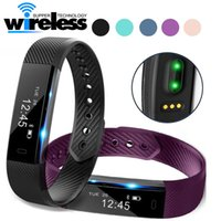 Wholesale Pulse Vibration - ID115 HR Smart Bracelet Fitness Heart Rate Tracker Step Counter Activity Monitor Band Alarm Clock Vibration Wristband for iphone 8 X samsung