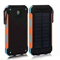 Wholesale Waterproof solar charger mah Universal power bank with LED flashlight and compass Travel charger for Mobile Phones Outdoor camping