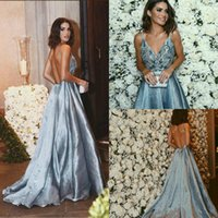 Wholesale Fall Evening Wear - 2018 Backless Sexy Prom Dress Long Sweep Train Satin Applique Beaded Spaghetti Sleeveless Formal Dresses Party Wear Plus Size Evening Gowns