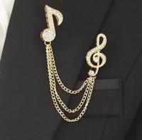müzik broşları toptan satış-Erkekler Moda Müzik Notlar Broş Kristal Püskül Rozeti Yaka Pimleri Takım Gömlek Yaka Iğneler Aksesuarları Parti Takı