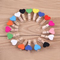 Wholesale Mini Wooden Heart Clips - Cartoon Wooden Clip Mini Love Heart Shape Photo Clamp Resuable Eco Friendly Memo Clips Factory Direct Sale 0 08hy B