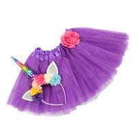 ingrosso yellow feather skirt-5pcs / lot REGALI DELLA NOVITÀ delle neonate arcobaleno unicorno fascia colorata gonna tutu per la festa di compleanno cosplay impostato 1 °