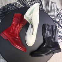 Wholesale british style flat shoe women for sale - Group buy New Hot Wrink Leather Zipper Half Boots Fashion British Style Women s Martin Boot Army Shoes