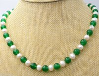 perla verde esmeralda al por mayor-Nuevo 7-8MM White Akoya Pearl Green Emerald Necklace 20inch