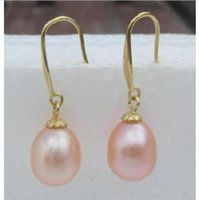 Wholesale natural pearl 12mm resale online - 10 mm south sea pink natural pearl earring k yellow gold gift box