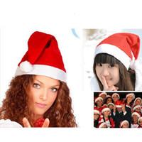 vestido de santa navidad rojo niños al por mayor-Sombrero de Papá Noel Rojo Navidad Cosplay Sombreros Adultos Niños Fiesta de Navidad Gorros de Navidad Venta al por mayor Regalo de Navidad barato