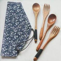 Wholesale nice travel bags - Environmental wooden fork spoon two-piece suit Japanese Korea style travel portable tableware nice dinnerware bag packing free ship