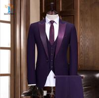 esmoquin delgado moderno al por mayor-Marca Moderna Púrpura Formal Trajes de hombre Slim Fit Longitud media Material de poliéster 1 set / Opp Bag Men Tuxedos de boda