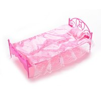 Wholesale girls single bedding for sale - New Pink Nightgown Single Bed Dollhouse Furniture Pillow Bed Sheet For Dolls Children Toys Color Random