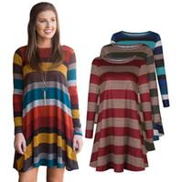 f8176022816 Wholesale summer tunics tops online - Women Long Sleeve Striped Tunic Mini Dress  Tops Fashion Shirt