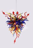многоцветный подвесной светильник оптовых-Многоцветные Чихули цветок стекла подвесной светильник свет светодиодные современные люстра для дома Вилла рынок строительный декор