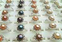 perlas cultivadas de 11mm. al por mayor-joyería al por mayor de agua dulce cultivada colores de la mezcla Perlas anillo ajustable 10-11mm