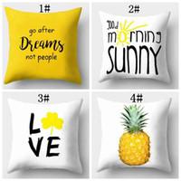bisiklet resimleri toptan satış-Ananas yaprağı sarı şeftali cilt yastık karikatür resimleri kanepe yastık limon fil bisiklet desen yastık kılıfı