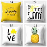 Wholesale pictures elephants - Pineapple leaf yellow peach skin pillowcase cartoon pictures sofa cushion lemon elephant bicycle pattern pillow case