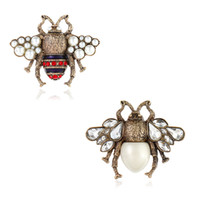 Wholesale unique insects - Unique Design New Fashion Trendy Men Women Brooch Pin AAA Rhineston Crystal Pearl Bee Pins Brooches for Party Wedding Nice Gift for Friends