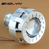 lentes de proyector bi xenon al por mayor-1.8 2.0 Más pequeño Micro HID Bi xenon Linterna Proyector Lente + Mini Gatling Gun Shrouds Para Coches / Motocicleta H7 H4 Car Styling