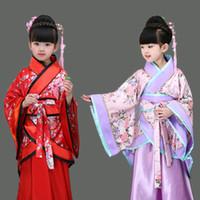 kız çince kostümleri toptan satış-Geleneksel çin dans kostümleri kızlar için antik opera tang hanedanı han ming hanfu elbise çocuk giyim halk dansları çocuk