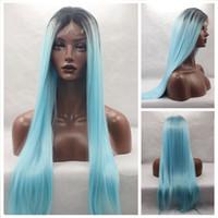 ingrosso due parrucche blu capelli tonici-Parrucca anteriore in pizzo sintetico blu chiaro moda Ombre Glueless parrucca bicolore nero / blu naturale resistente al calore Capelli Wowen