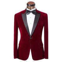 Wholesale Tuxedo Designs For Wedding - Lastest Coat Pant Design Men Suit Red And Blue Tuxedo Fashion Brand Men Slim Fit Wedding Prom Suits For Groom Size XS-6XL